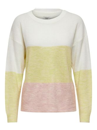 CONTRAST COLORED KNITTED PULLOVER