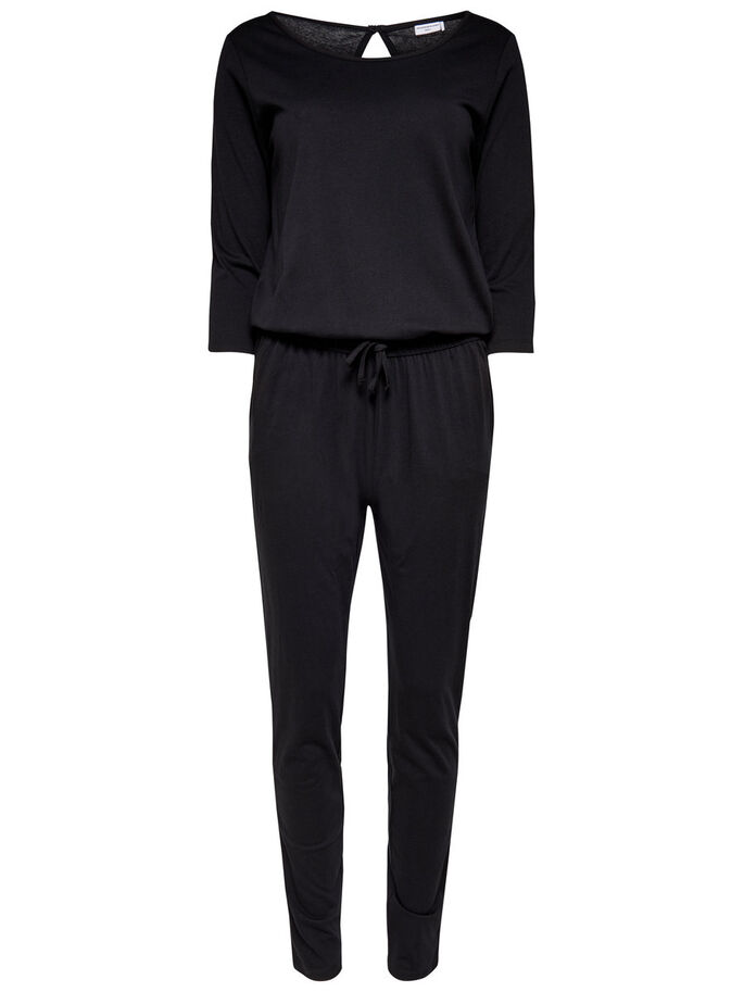 3/4 LONG SLEEVED JUMPSUIT, Black, large