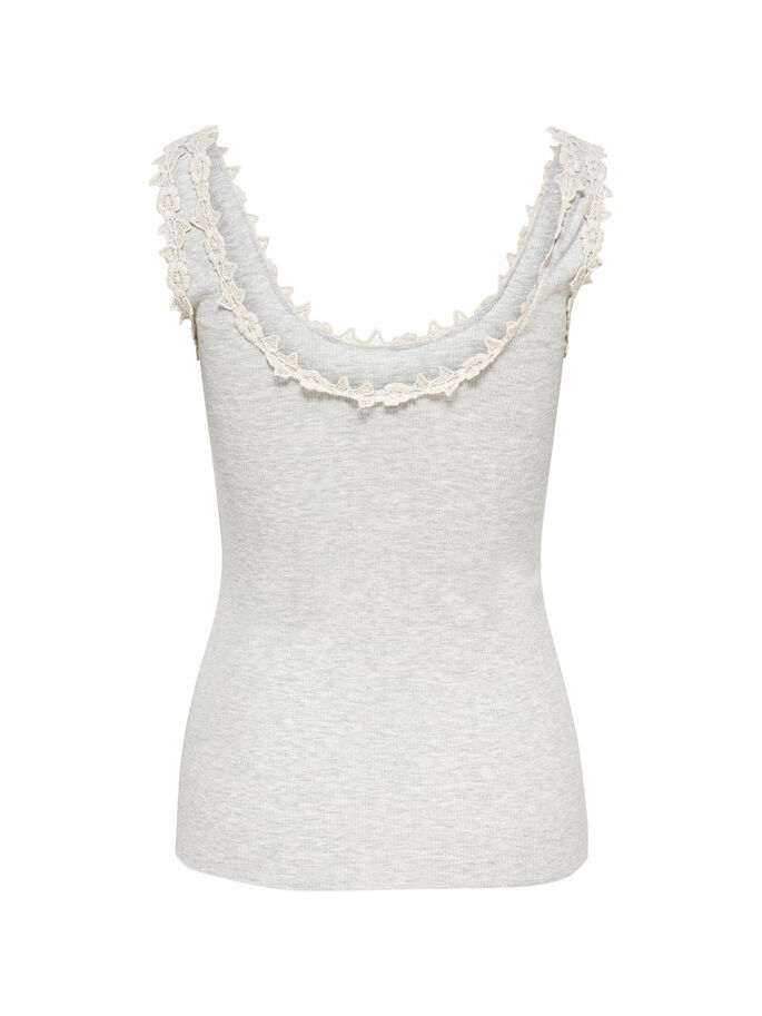 LACE DETAILED SLEEVELESS TOP, Oatmeal, large