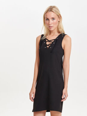 LACE-UP SLEEVELESS DRESS