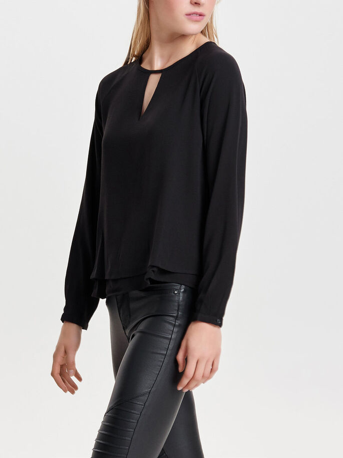 EFFEN TOP MET LANGE MOUWEN, Black, large