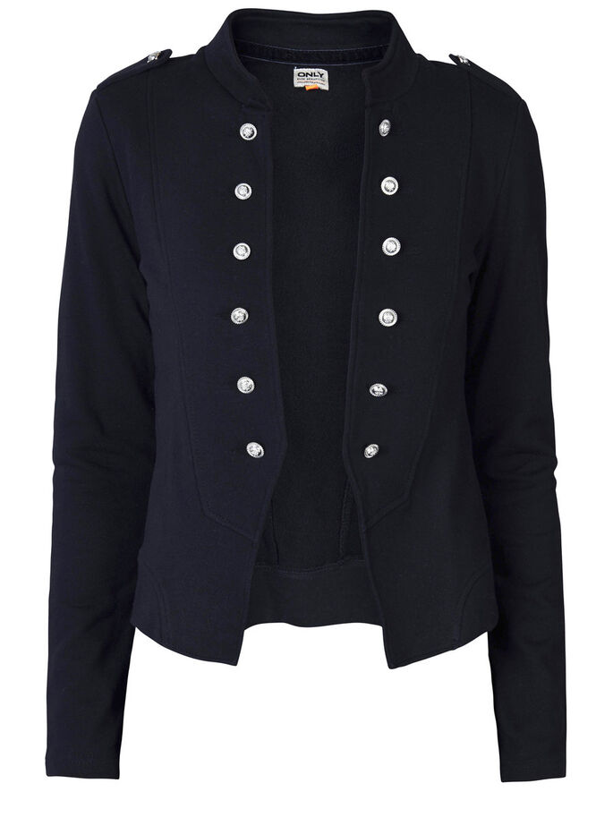 BUTTON DETAILED SWEAT BLAZER, Black, large