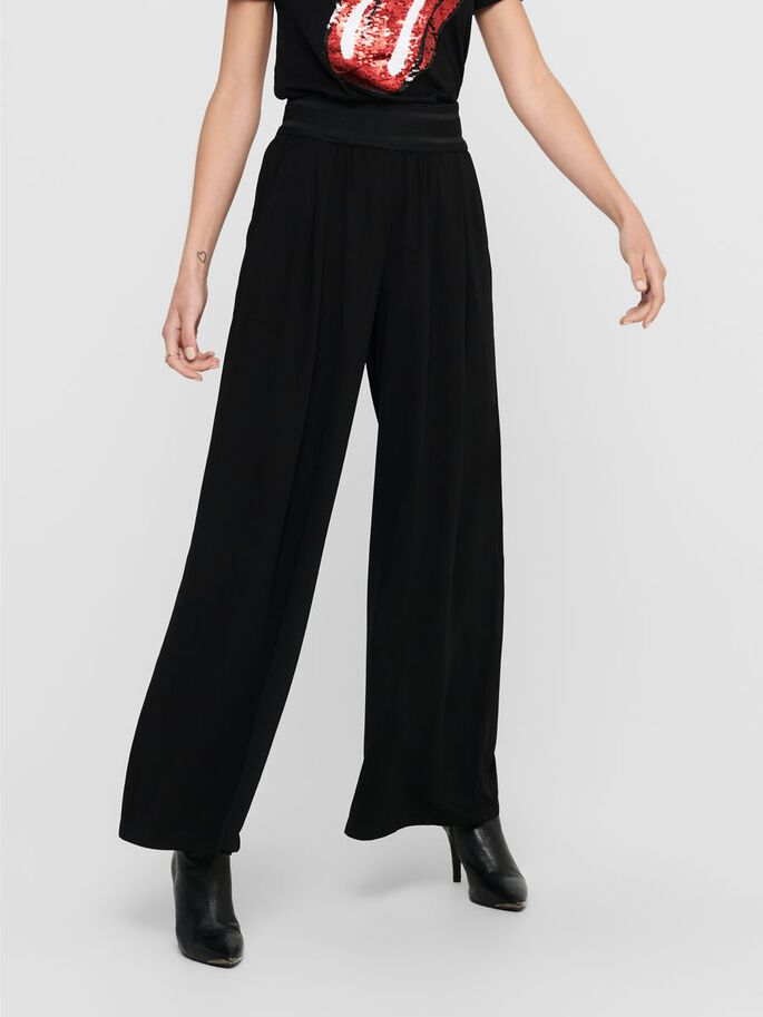 WIDE HIGH WAIST TROUSERS, Black, large