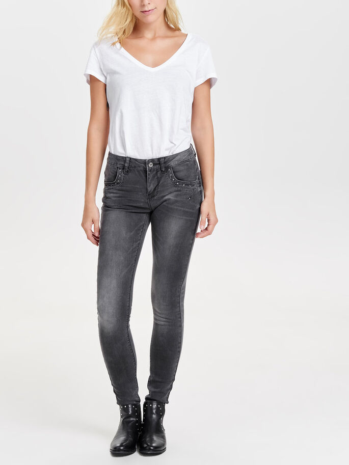 IZA REG STUDDED JEAN SLIM, Dark Grey Denim, large