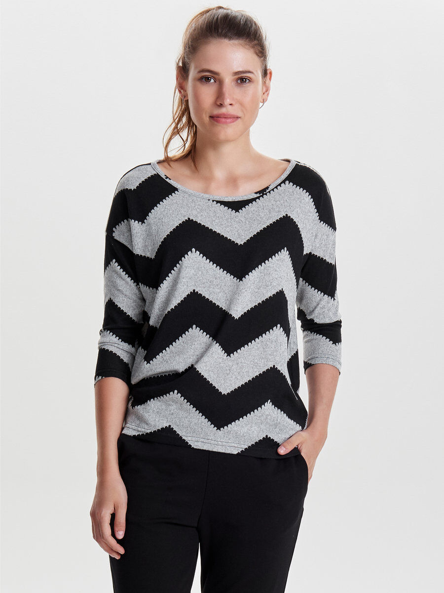 Choice For Sale Pay With Visa Online Only Printed 3/4 Sleeved Top Women Grey Clearance Find Great hXb362qyd