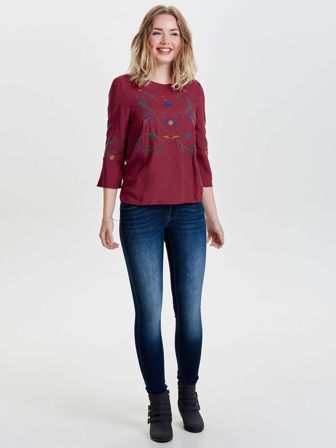 EMBROIDERY 3/4 SLEEVED TOP, Rhododendron, large
