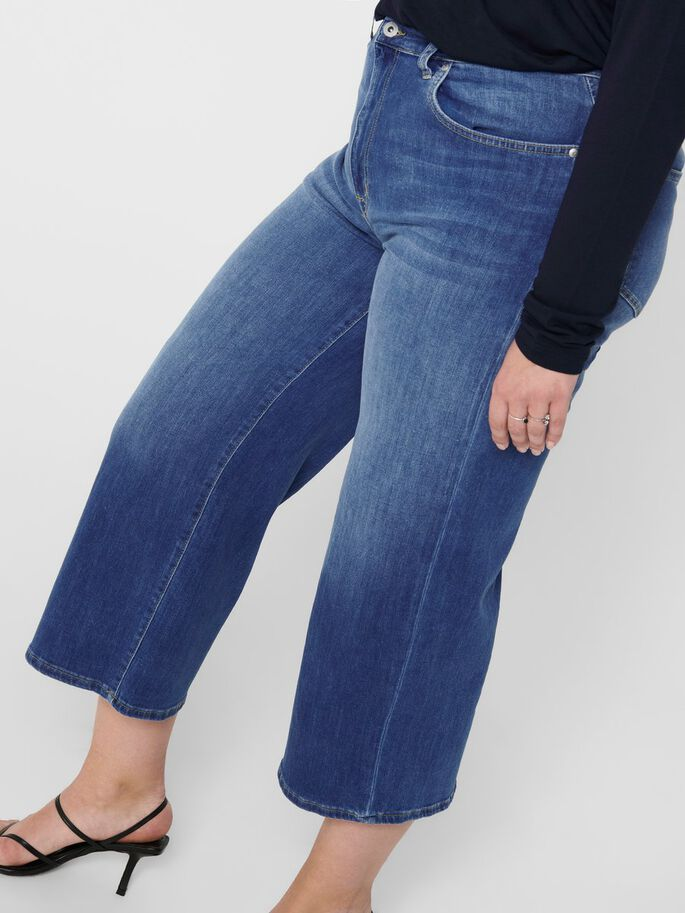 CURVY CARADISON HW WIDE CROPPED CROPPED JEANS, Medium Blue Denim, large