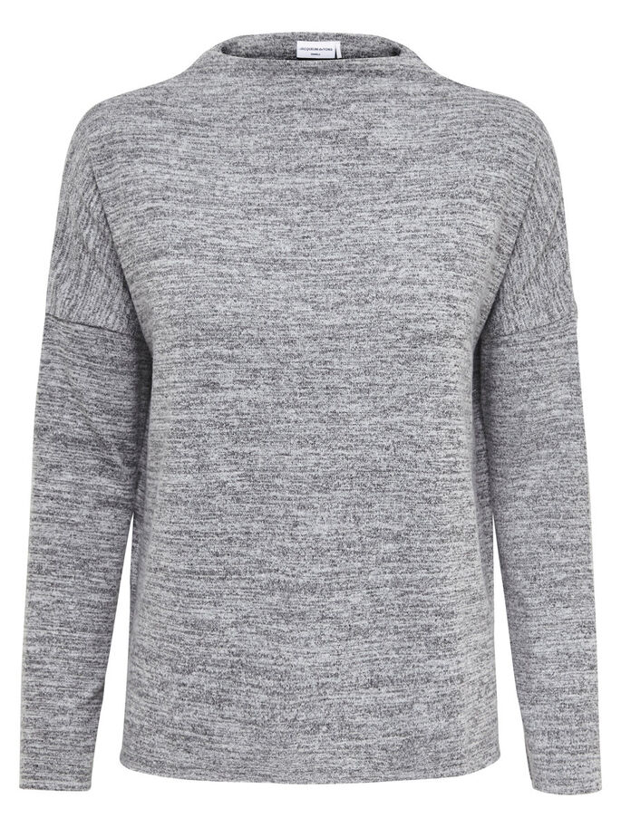 SOLID LONG SLEEVED TOP, Light Grey Melange, large