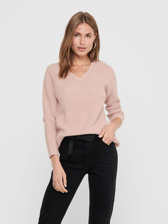 LOOSE FITTED KNITTED PULLOVER, Rose Smoke, large