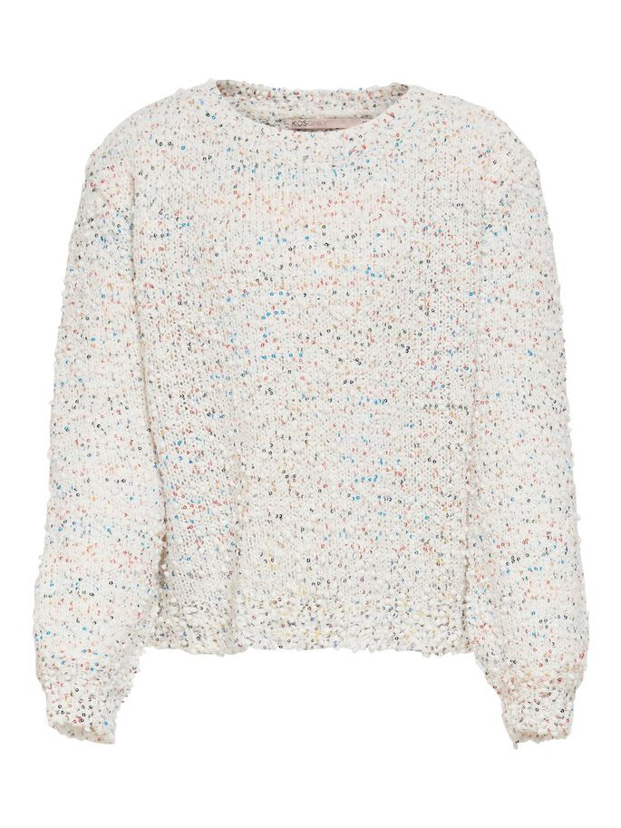 SEQUINS KNITTED PULLOVER, Cloud Dancer, large