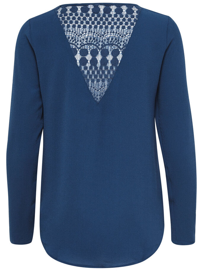 BLONDE TOP MED LANGE ÆRMER, Ensign Blue, large