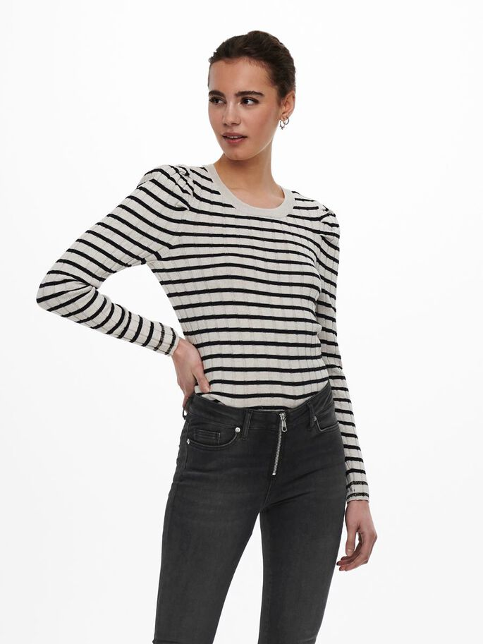 STRIPED KNITTED PULLOVER, Pumice Stone, large