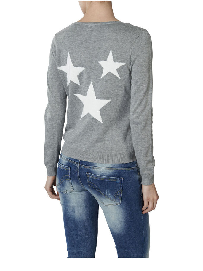 STAR CARDIGAN, Light Grey Melange, large