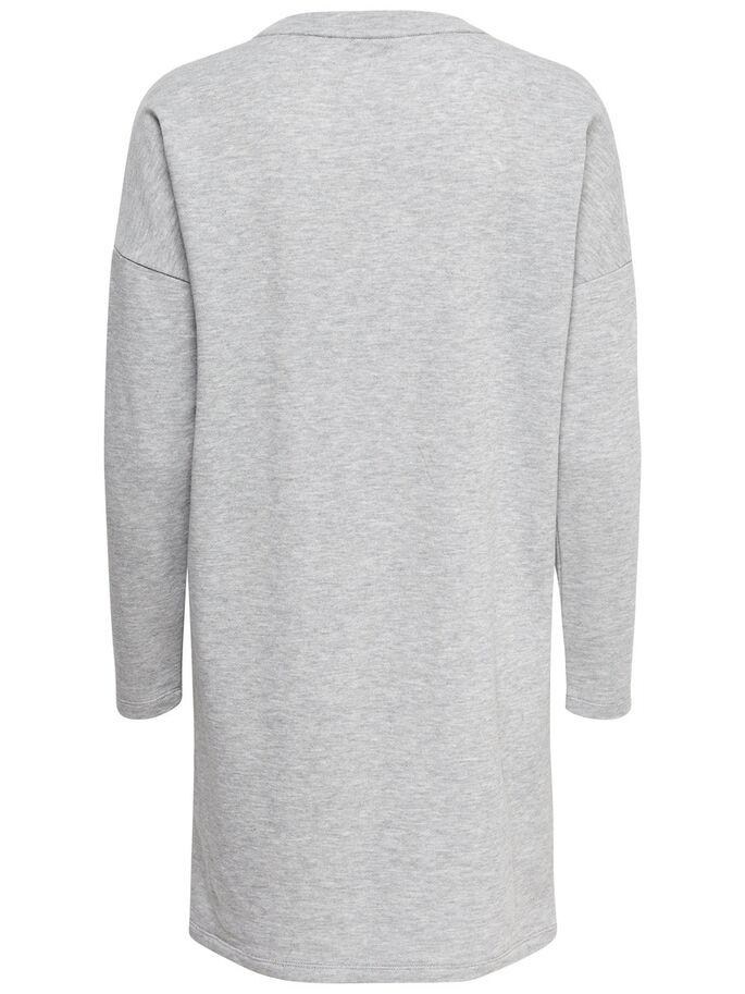 SWEAT ROBE À MANCHES LONGUES, Medium Grey Melange, large