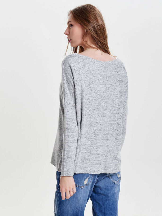LOOSE FITTED KNITTED PULLOVER, Light Grey Melange, large