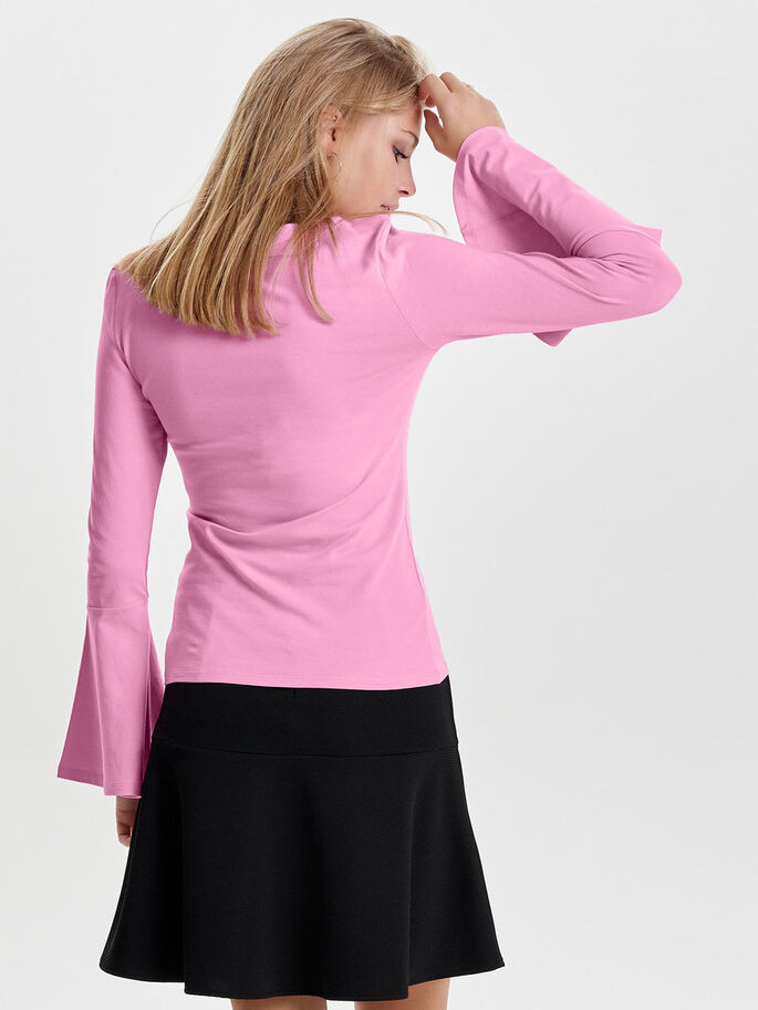 SOLID LONG SLEEVED TOP, Begonia Pink, large
