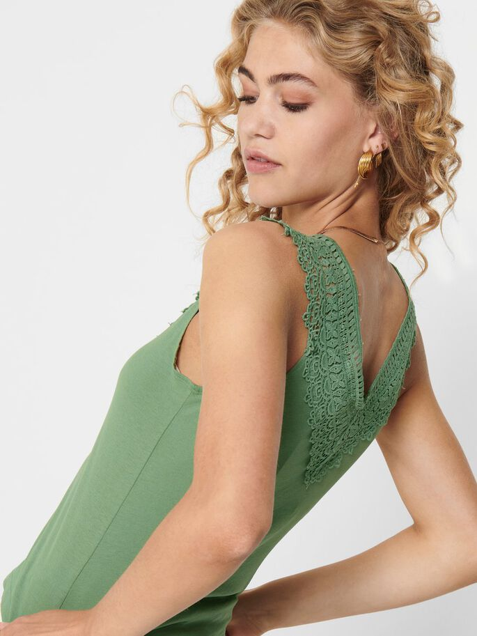 LACE DETAIL SLEEVELESS TOP, Hedge Green, large