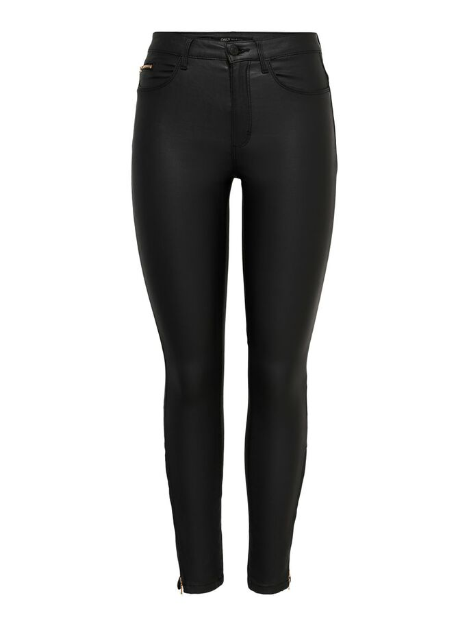 PETITE ONLROYAL HW COATED ANKLE TROUSERS, Black, large