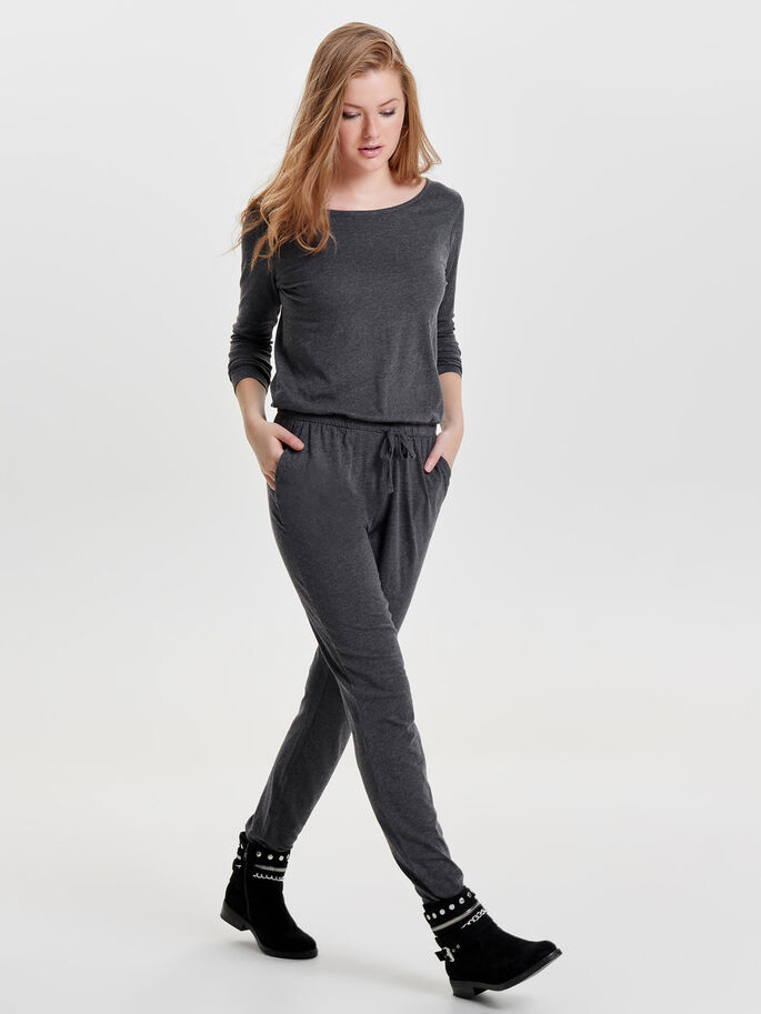 LANGÆRMET JUMPSUIT, Dark Grey Melange, large