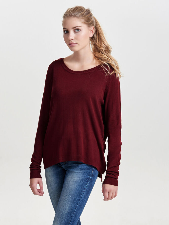 SOLID KNITTED PULLOVER, Syrah, large