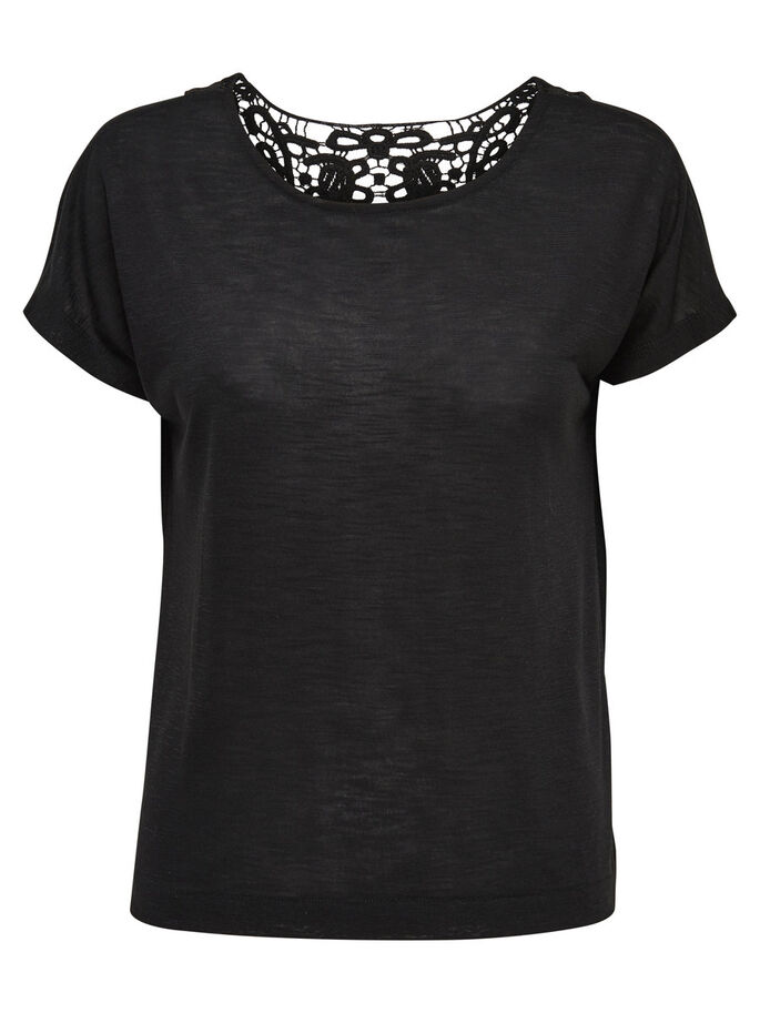 CROCHET SHORT SLEEVED TOP, Black, large