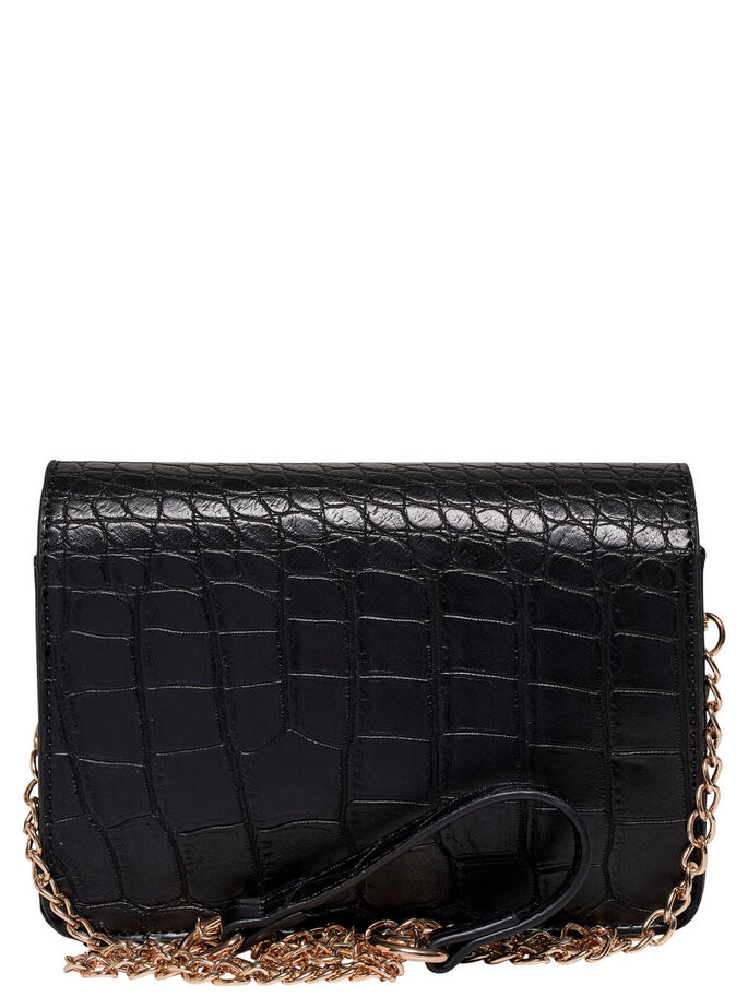 LEATHER LOOK CROSSBODY BAG, Black, large