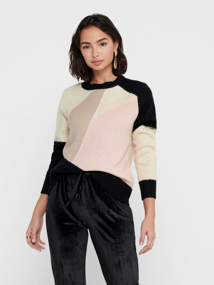 PATTERNED KNITTED PULLOVER, Black, large