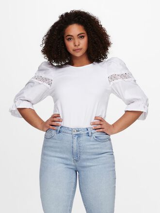 CURVY PUFF SLEEVE 3/4 SLEEVED TOP