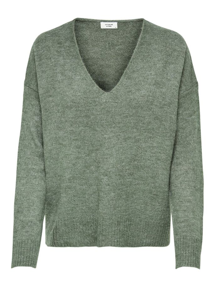 V-NECK KNITTED PULLOVER, Kalamata, large