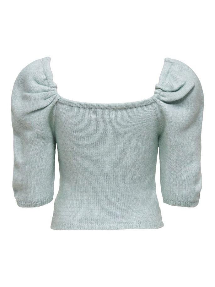 3/4 SLEEVED KNITTED PULLOVER, Cashmere Blue, large