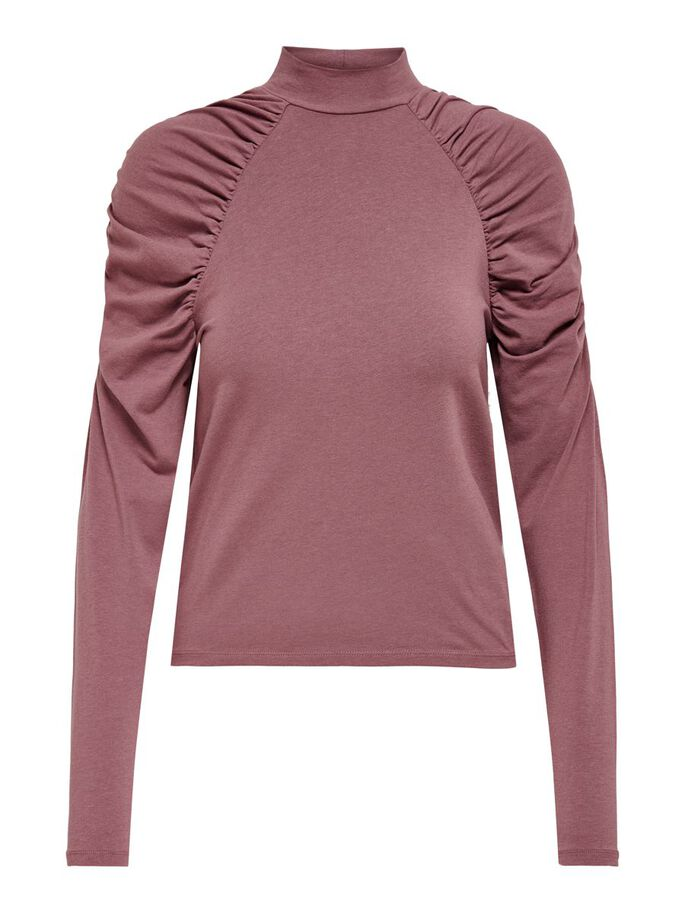 PUFF SLEEVE TOP, Rose Brown, large