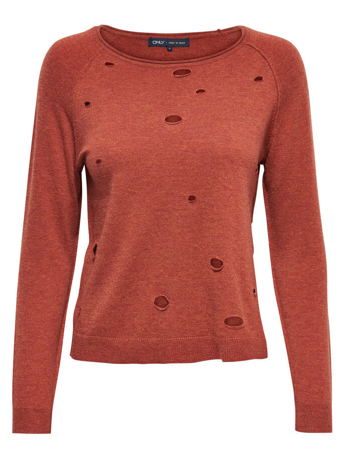 RIPPED KNITTED PULLOVER, Arabian Spice, large