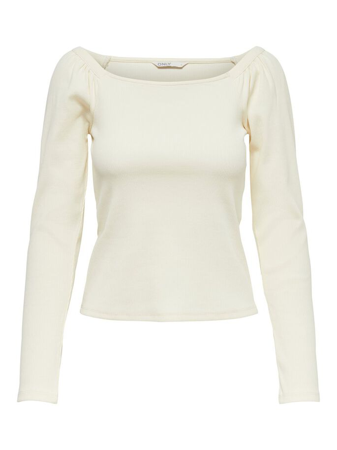 PUFF SLEEVE TOP, Cloud Dancer, large