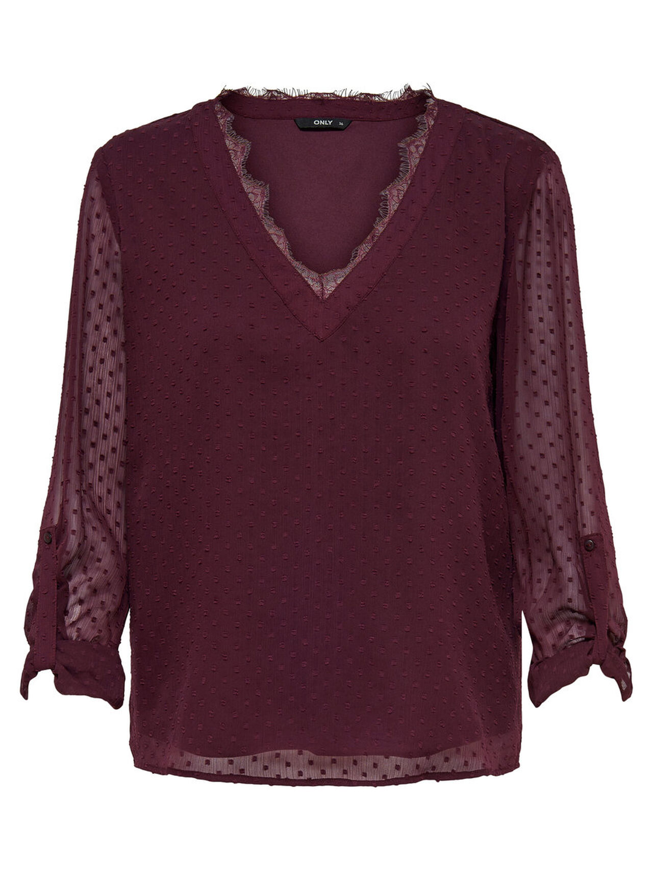 ONLY Loose Long Sleeved Top Women Red