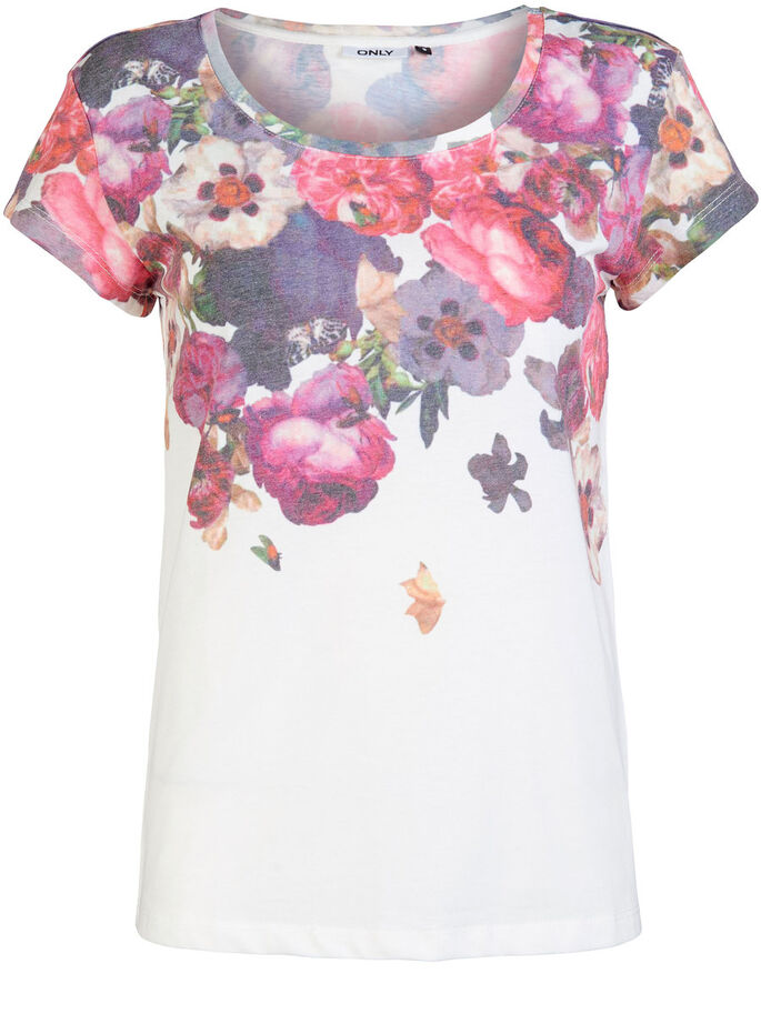 PRINTED SHORT SLEEVED TOP, Cloud Dancer, large