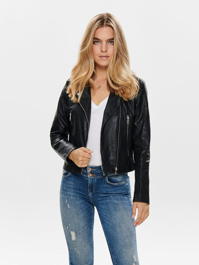 latest discount lace up in pick up Biker faux leather jacket   ONLY