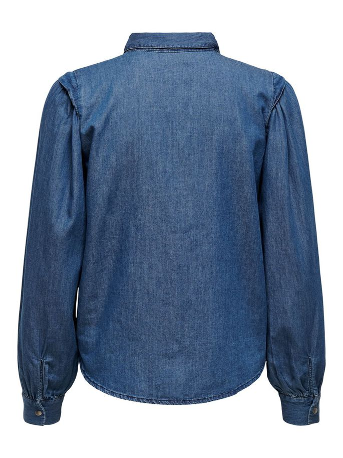 MANCHES BOUFFANTES CHEMISE, Medium Blue Denim, large