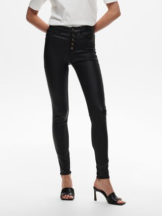 JDYNEW THUNDER HW COATED BUTTON SKINNY FIT JEANS