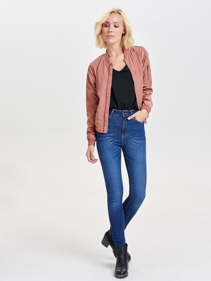 NYLON SHORT JACKET, Withered Rose, large
