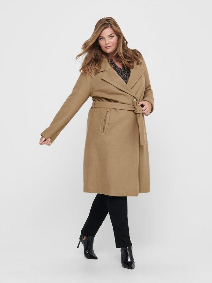 CURVY WOOL WRAP COAT, Camel, large