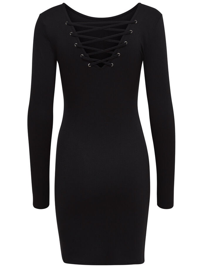 LACE-UP FRONT BACK LONG SLEEVED DRESS, Black, large