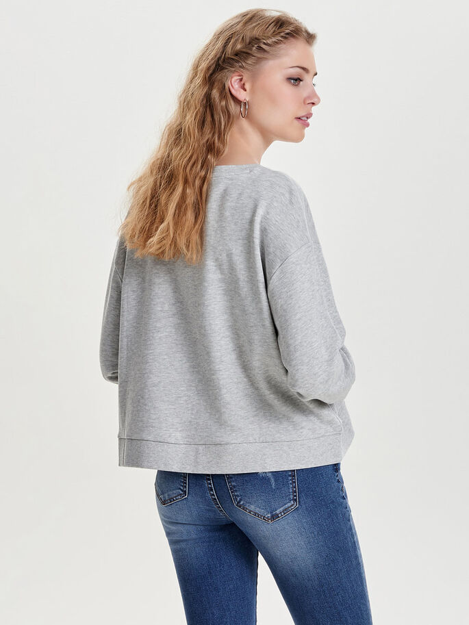 OVERSIZE FIT SWEATSHIRT, Light Grey Melange, large