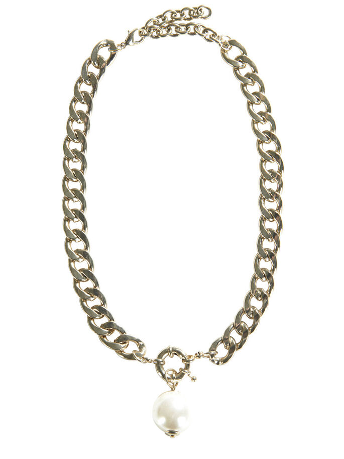 PEARL NECKLACE, Gold Colour, large