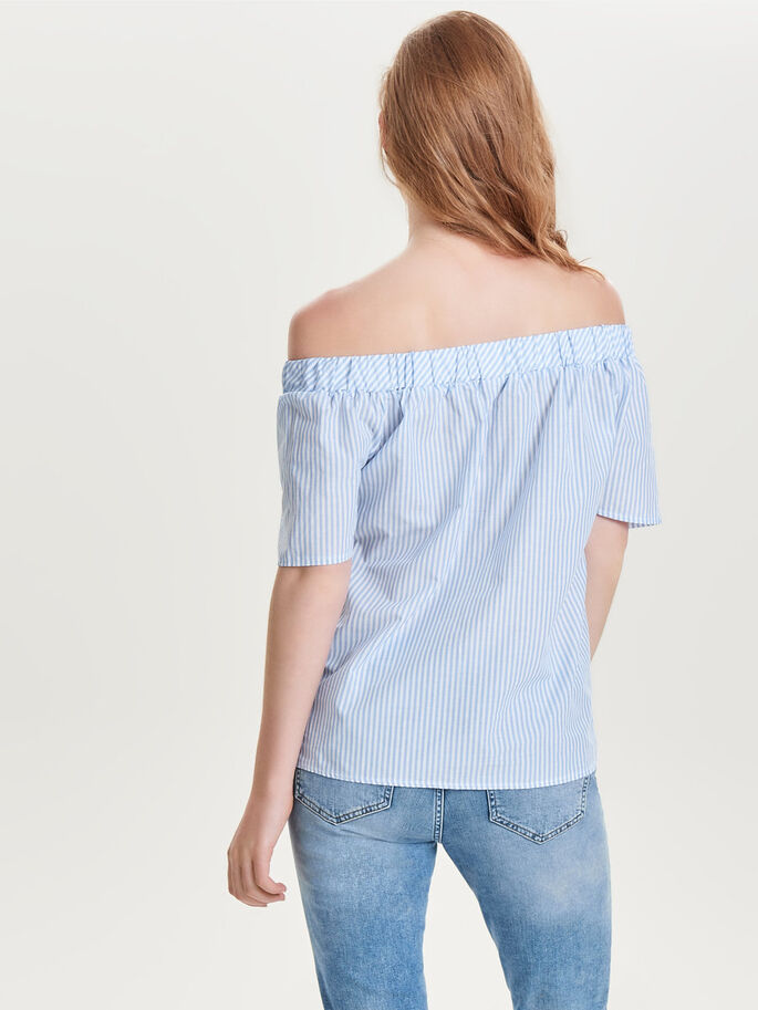 OFF-SHOULDER TOP MET KORTE MOUWEN, Cashmere Blue, large