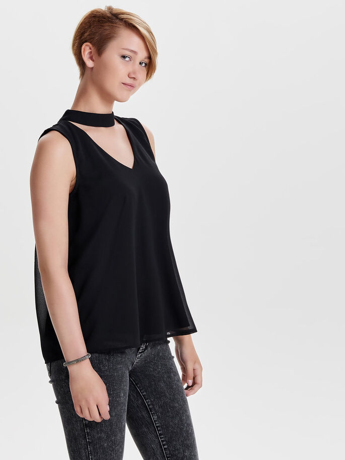 CHOKER MOUWLOZE TOP, Black, large