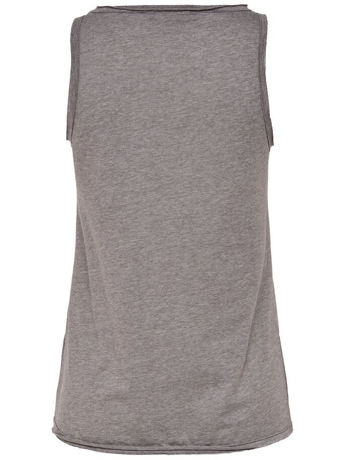 LACE SLEEVELESS TOP, Light Grey Melange, large