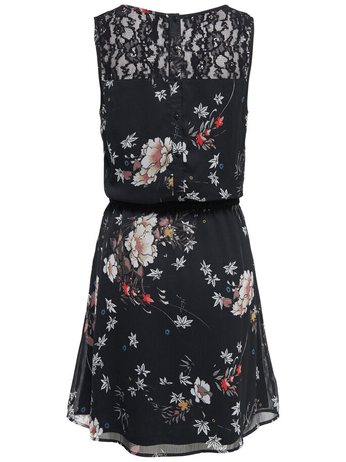 FLOWER SLEEVELESS DRESS, Black, large