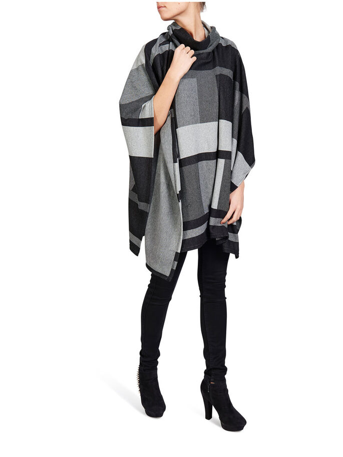 HIGHNECK PONCHO, Dark Grey Melange, large