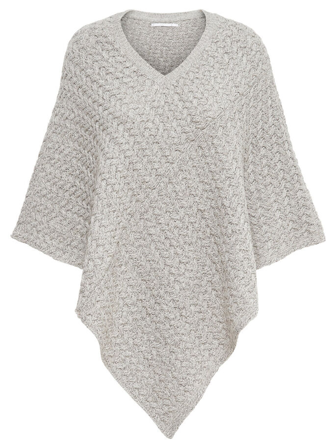 KNITTED PONCHO, Ash, large