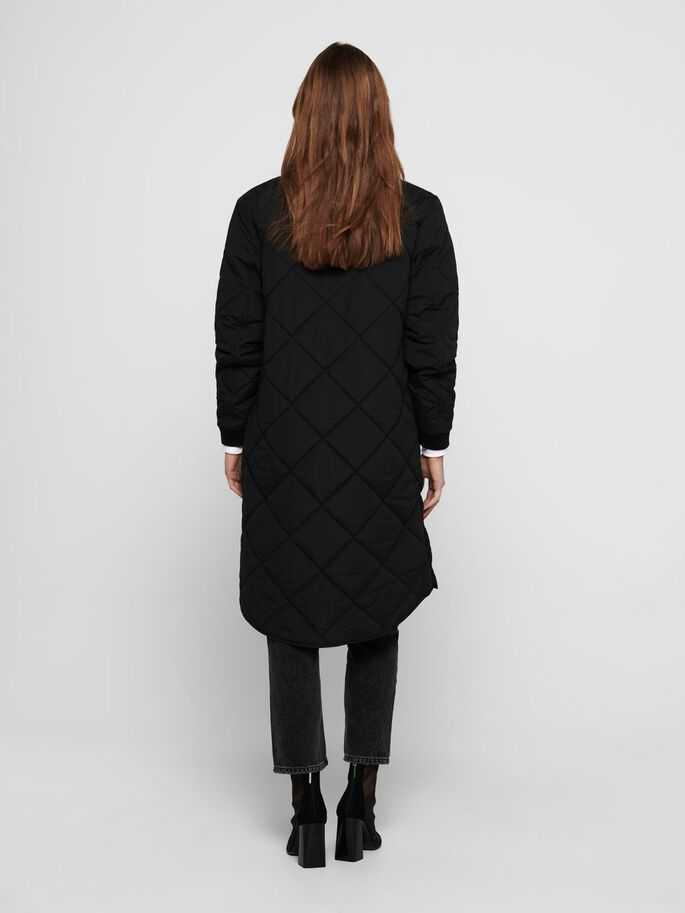 LONG QUILTED JACKET, Black, large